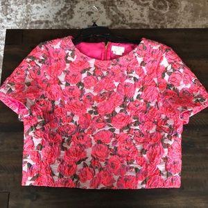 Kate Spade NWT Sz 14 Pink Rose Brocade Lummi Top